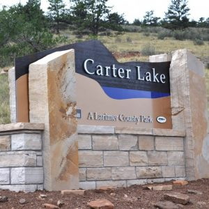 Northern Colorado Carter lake monument sign, metal dimensional letters,